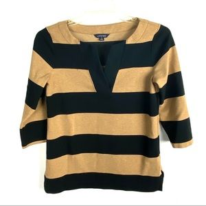 Land's End Black & Tan Color Block Striped Top